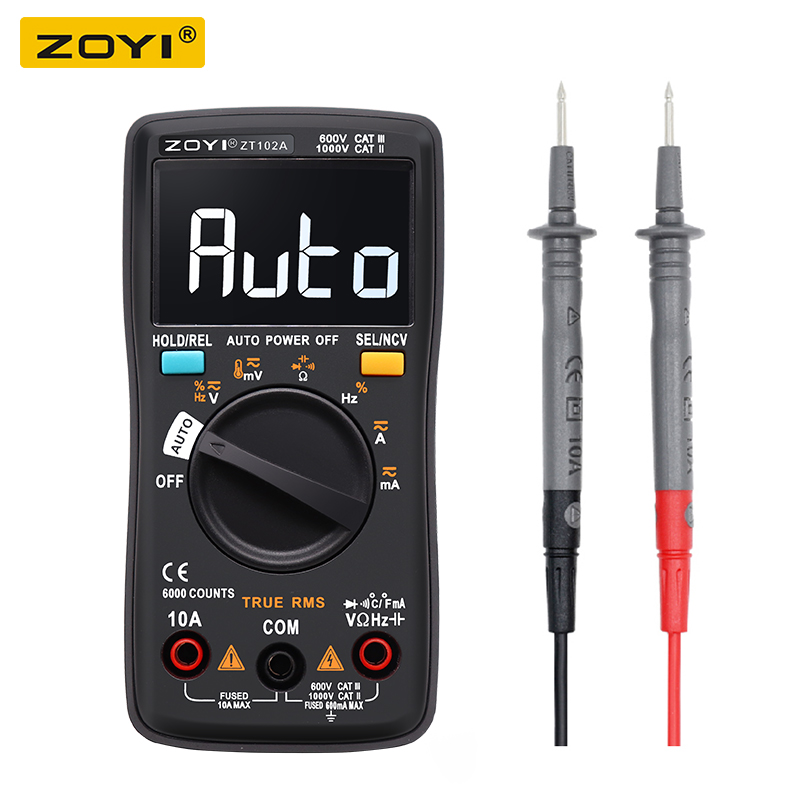 ZT102A Digital Multimeter 6000 counts Auto 113D Back light AC/DC Voltmeter transistor tester Frequency Diode Temperature image