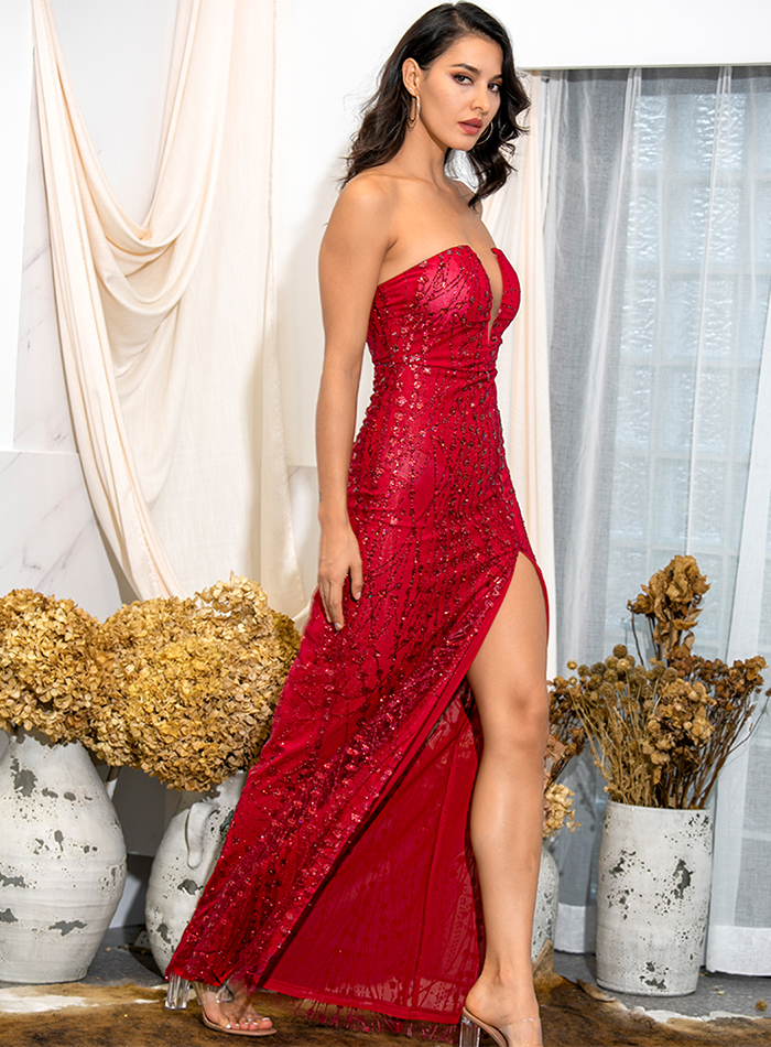 ReinaLiza 2020 Bodycon Red Glitter Glued Dress