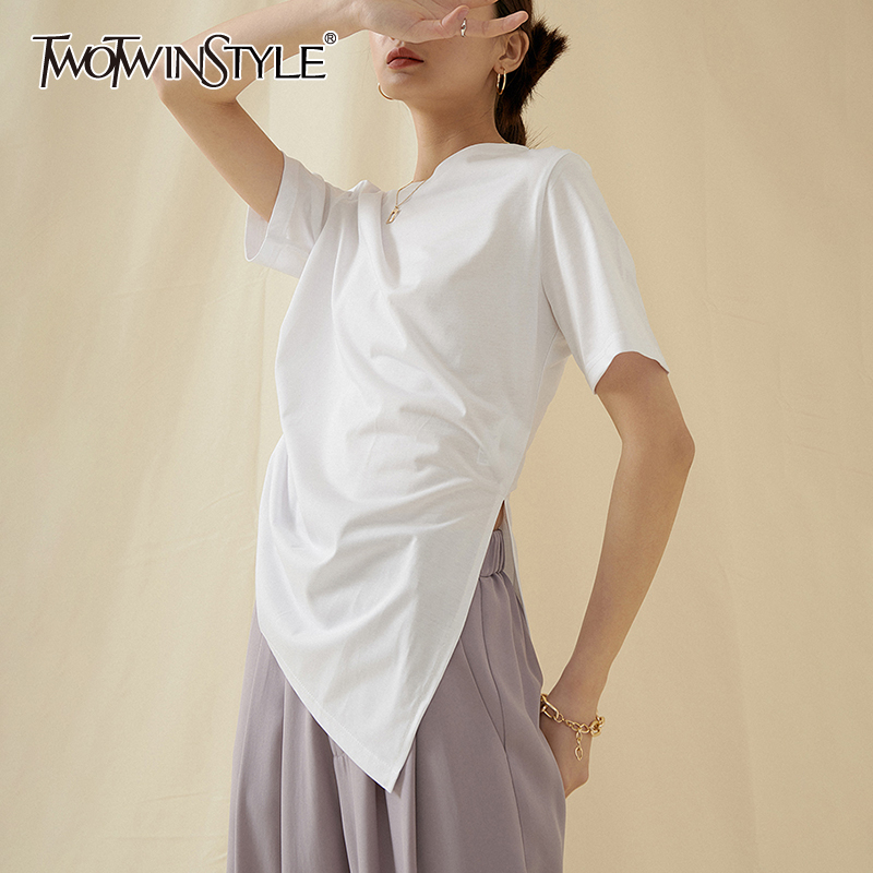 TWOTWINSTYLE Casual Irregulae Women T Shirt O Neck Short Sleeve Asymmetrical Ruched T-Shirt For Female Fashion Clothing 2020 New
