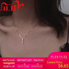 Louleur 925 Sterling Silver Zircon Necklace Vertical Bar Slidable Romantic Pendant Necklace For Women Wedding Birthday Gifts