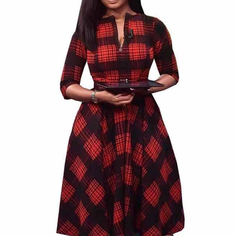 Плюс размер клетчатое платье миди на молнии с поясом, женское офисное платье с длинным рукавом, теплое платье трапециевидной формы, винтажное элегантное Ретро накидка, Vestido Sukienka