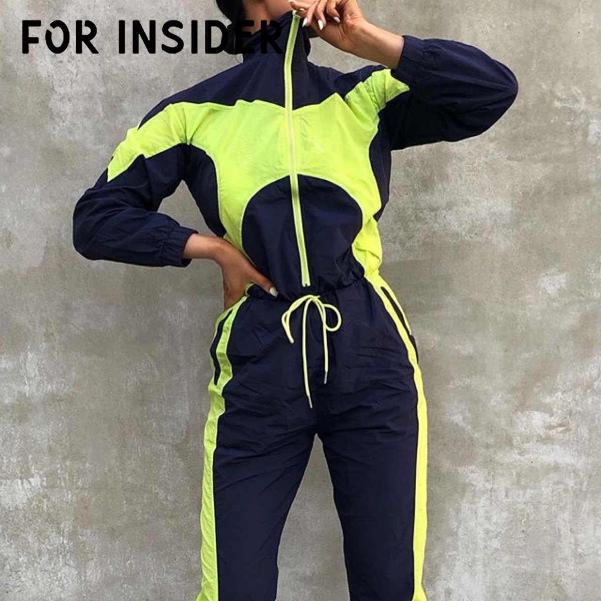 For Insider Neon Green patchwork fitness jumpsuits autumn Full sleeve zipper turtleneck jumpsuit Casual sport female jumpsuits