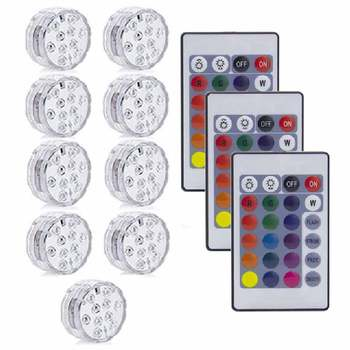 10LED RGB LED Underwater Light Pond Submersible IP67 Waterproof Swimming Pool Light Battery Operated For Wedding Party - 3 Remote 9 Light
