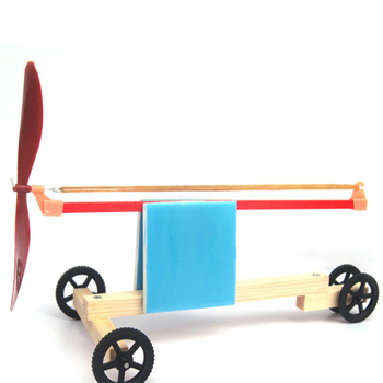 1 Set DIY Creative Elastic Dynamic Rubber Band Powered Wooden Cars Kids Educational Assembled Learning  Toys For Children 1