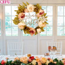 QIFU Artificial Flower Wreath Christmas Wreath Decor for Home Wedding Door Hanging Garland Hawaii Party Supplies Fake Flowers(China)