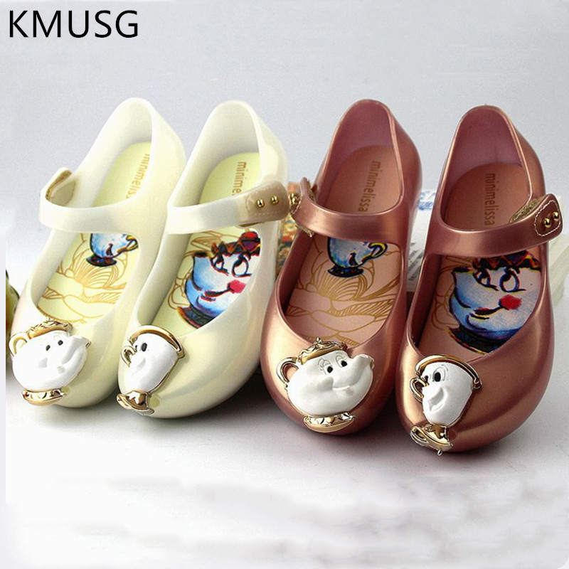Mini Melissa Shoes Children Cartoon Beauty And The Beast Candy Jelly Shoes Summer Kids Fashion Beach Wear Sandal 01