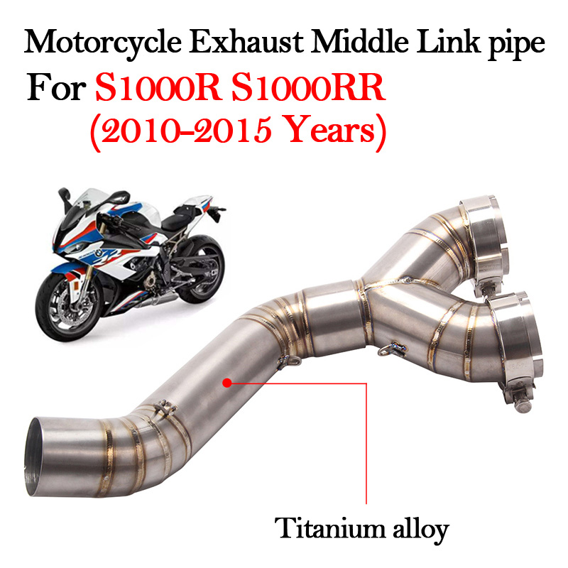Slip on Motorcycle Exhaust Titanium alloy Middle Link pipe Escape Muffler For S1000R S1000RR 2010 2011 2012 2013 2014 2015 Years