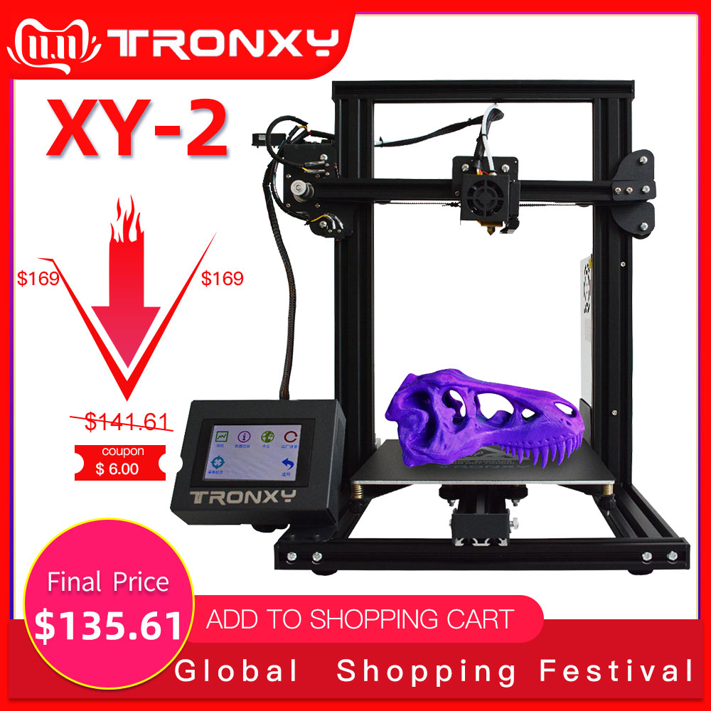 Tronxy XY 2 Fast Assembly Full metal 3D Printer 220*220*260mm High printing Magnetic Heat Paper 3.5 Inches Touch Screen-in 3D Printers from Computer & Office