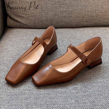 Krazing pot full grain leather sweet solid ladies shoes square toe buckle straps low heels beauty lady spring dating pumps L21