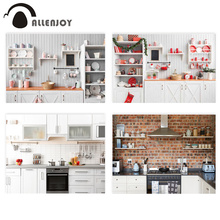 Allenjoy Christmas kitchen photophone background wood cupboard photo studio child cook backdrop photobooth photography photocall