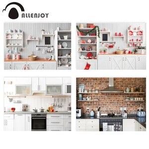 Image 1 - Allenjoy natale cucina casa sfondo armadio in legno Studio fotografico bambino cuoco sfondo fotografia decorazione Photocall
