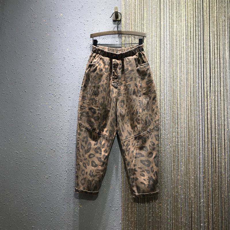Autumn New Fashion Women Elastic Waist Loose Leopard Print Vintage Jeans All-matched Casual Cotton Denim Harem Pants S462