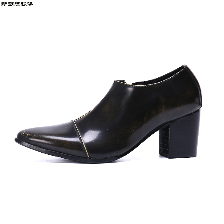 Spring Autumn Men Ankle Boots Genuine Leather Pointed Toe 8CM High Heels Casual Dress Shoes Men Winter Spring Men Oxford Dress