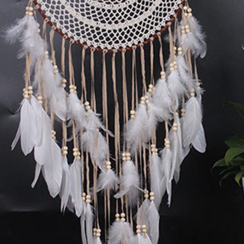 Large Dream Catcher Home Floral Pendant Interior Gift Circular Feather 110cm Handmade Knitted