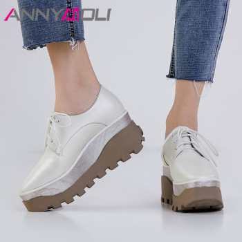 ANNYMOLI High Heels Women Pumps Natural Genuine Leather Platform Wedge High Heels Shoes Cow Leather Lace Up Shoes Female Size 39