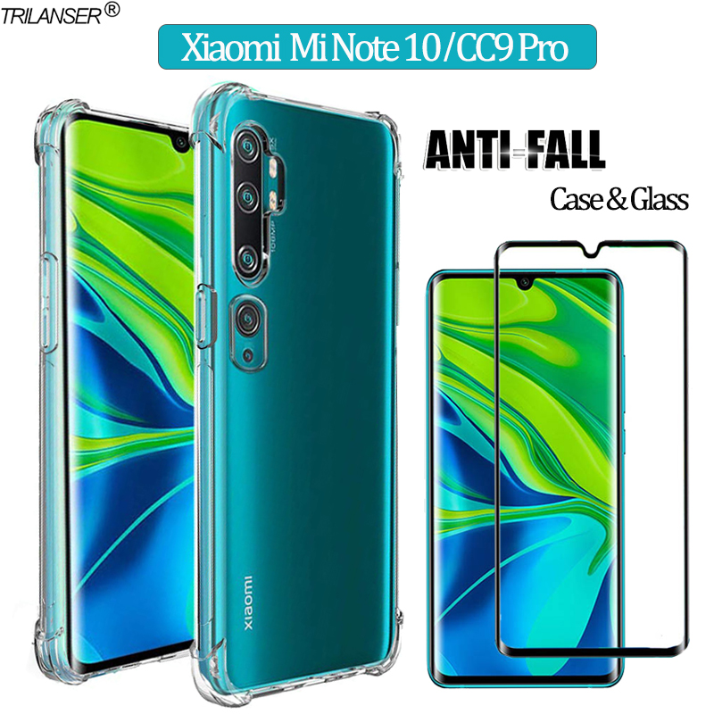 2-in-1 Armatura Cover di Vetro Per cc9 pro xiaomi mi note10 Morbido Custodia Xiomi note 10 Anti -Shock Case Della Cover xiaomi note10 pro mi-note-10 cover cc9 pro