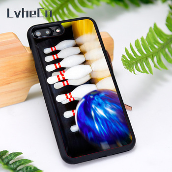 LvheCn Silicone Rubber Phone Case Cover for iPhone 6 6S 7 8 Plus X XS XR 11 12 Mini Pro Max Tenpin Bowling Shoes Bag Ball image