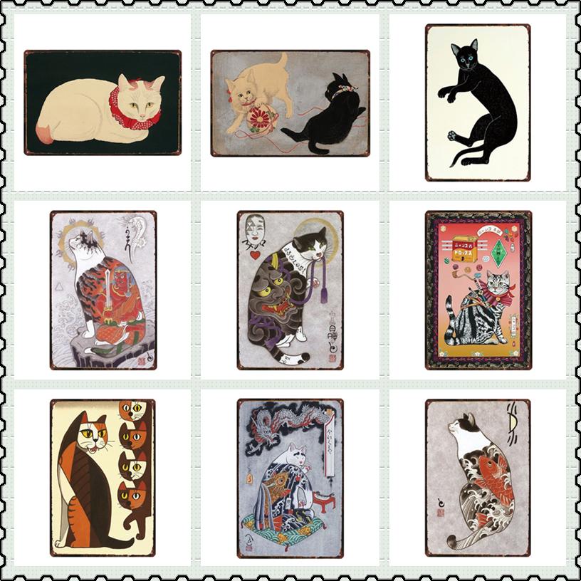 Gato samurái japonés tatuaje gato mascota estaño señal placa Metal Vintage placas pared arte Retro Decoración Para el hogar para sala de estar