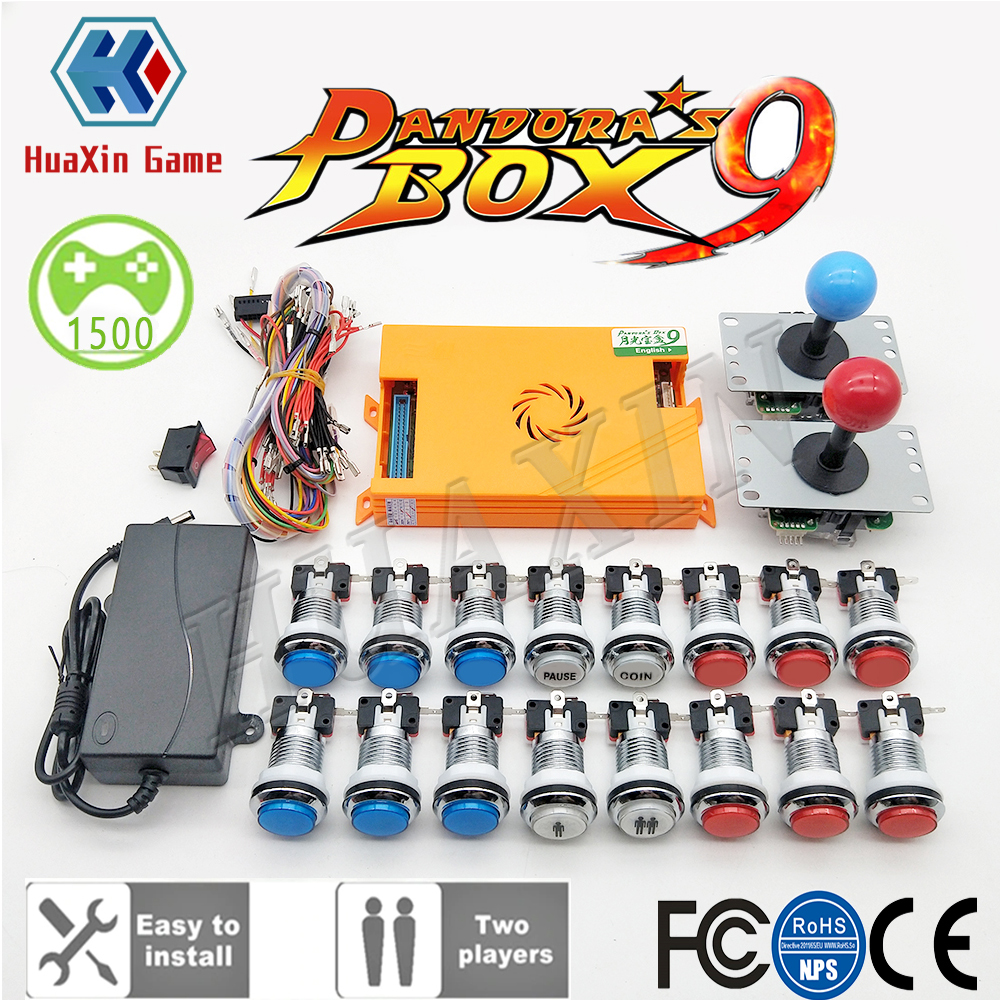 Video Tutorial To 2 Player Original Pandora Box 9 Kit Copy SANWA Joystick,Chrome LED Push Button DIY Arcade Machine Home Cabinet