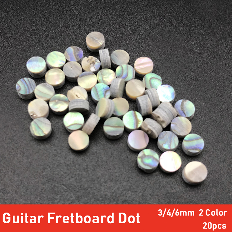 20pcs 2/3/4/6*2mm Colourful Abalone Inlay Dots Abalone White Pearl Shell Dots For Ukulele Acoustic Guitar Fretboard Fingerboard