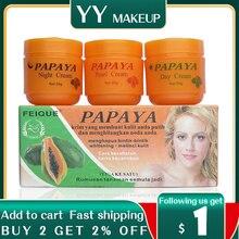 Papaya whitening cream for face anti freckle day cream+night cream+pearl cream skin care