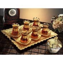 Turkish Tea Set Turkish Tea Gold Mug Set Six Personality Twenty one Pieces  Gold stylish  presentation tray and sugar tea set