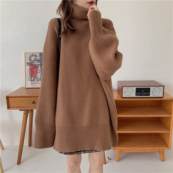 Ailegogo Autumn Winter Women Turtleneck Long Sweater Casual Female Knitted Loose Fit Pullovers Thick Warm Knitwear Ladies Tops 2