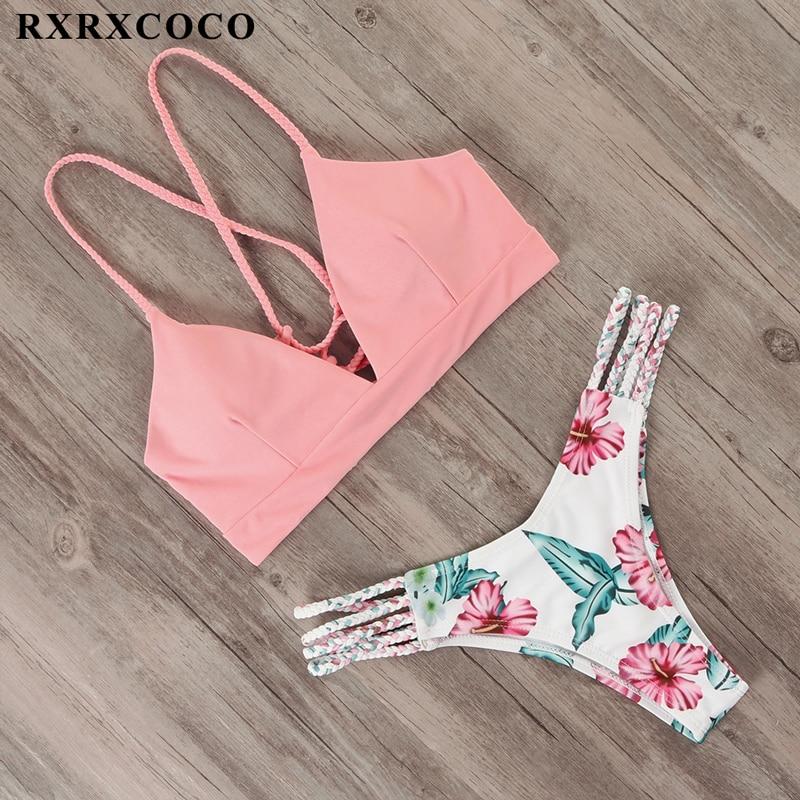 RXRXCOCO Bandage Swimwear Women Brazilian Bikini Swimsuit Female Thong Bikini Set Bathing Suit Push Up Flower Biquini Swimsuit