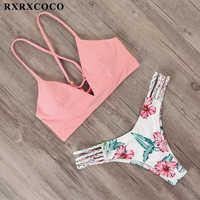 RXRXCOCO maillot de bain bandeau femmes brésilien Bikini maillot de bain 2019 Sexy string Bikini ensemble maillot de bain femme Push Up fleur baigneurs
