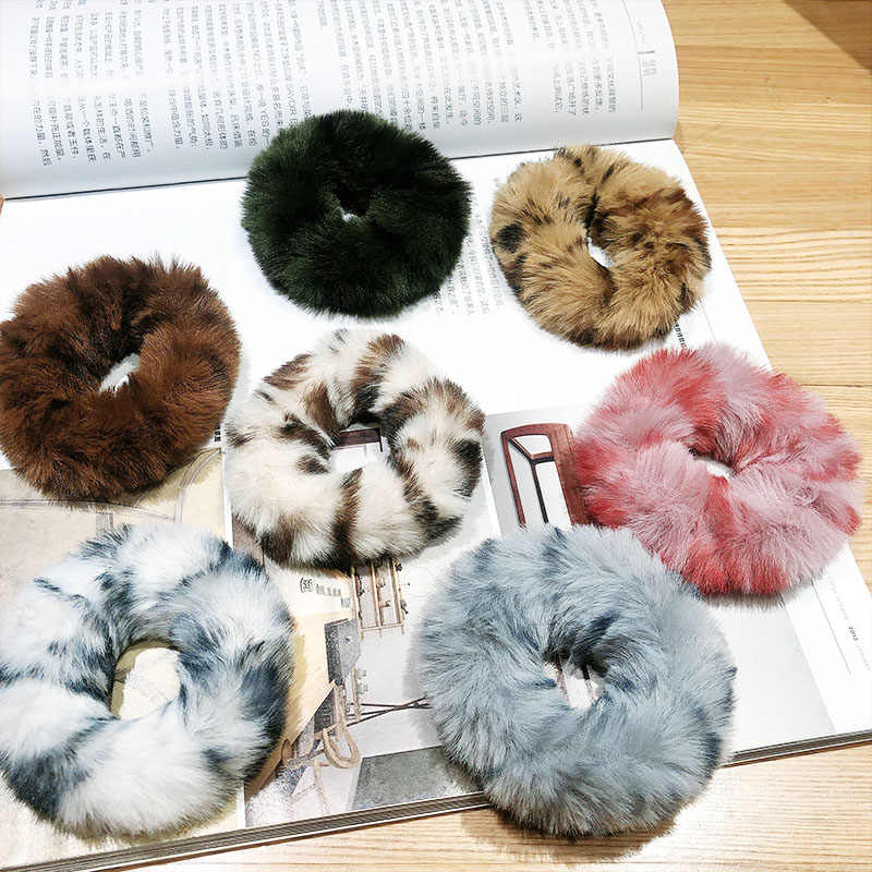 2019 New Women Winter Colorful Soft Plush Elastic Hair Band Ponytail Holder Sweet Scrunchie Headband Fashion Hair Accessories
