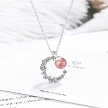 KOFSAC Sweet 925 Sterling Silver Necklace For Women Engagement Fashion Jewelry Cute Romantic Crystal Pink Zircon Moon Necklace sweet romantic that s ok major suit moon stars pendeloque cut necklace 114swr xiangl silver 925 jewelry christmas gift boho