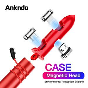 Ankndo Portable Magnetic Plugs Case Box For Micro USB Type C Adapter Magnetic Connector Tips Head Container Bullet Storage Box