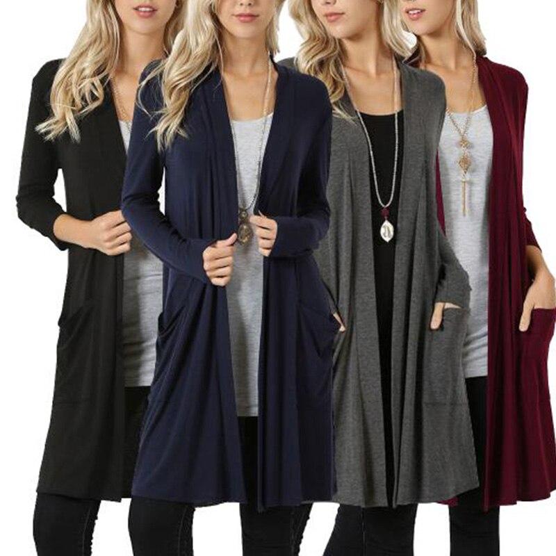 Goocheer Autumn Knitted Sweater Long Sleeve Casual Cardigan Women Winter Jacket Loose Big Yards Long Sweater Coat Outwear