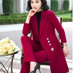 Image 5 - 2019 High quality Elegant women pant suit long blazer and pant 2 pieces sets suit green red black for office lady