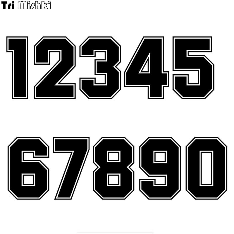 Tri Mishki HZX1182#  Racing Number Helmet Decals Car Sticker Funny Vinyl Decals Motorcycle Accessories Stickers