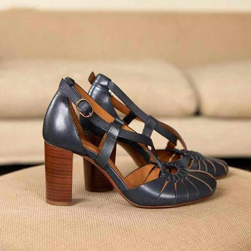 2020 yeni stil zarif kayış sandalet kadın 2020 sandalet kadın bohem stili yaz moda yüksek topuklu kadın ayakkabısı Footwea