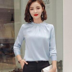 Image 2 - Long Sleeve Beading Shirt Women Fashion New Autumn O Neck Loose Chiffon Blouse Office Ladies Plus Size Work Tops