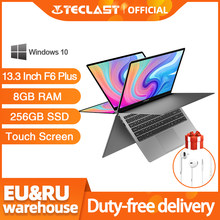 Plus récent Teclast F6 Plus ordinateur portable 13.3 pouces 8GB RAM 256GB ROM 360 degrés Rotation 1920 × 1080 Full HD Windows 10 OS 38000mWh batterie(China)