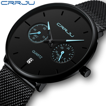 Mens Watches CRRJU Full Steel Casual Waterproof Watch