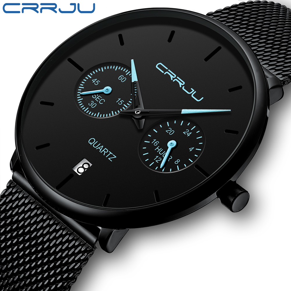 Mens Watches CRRJU Full Steel Casual Waterproof Watch For Man Sport Quartz Watch Men's Dress Calendar Watch Relogio Masculino