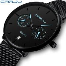 Mens Watches CRRJU Full Steel Casual Waterproof Watch for Man Sport Quartz Watch Mens Dress Calendar Watch Relogio Masculino