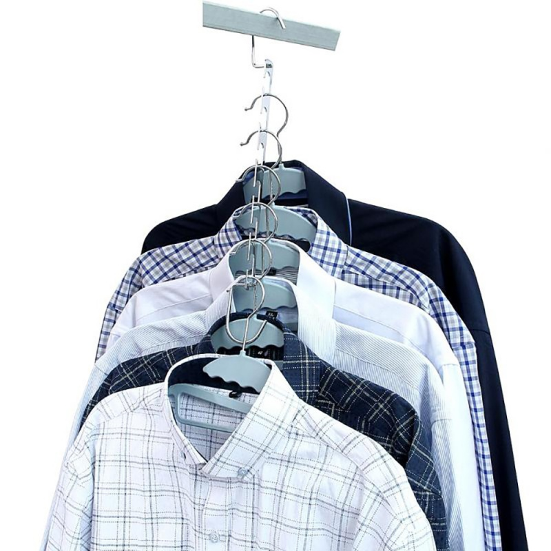 37cm Multifunctional Space Saving Metal Hangers With Hook Magic 6 Hole Clothes Closet Organizer Iron Clothes Drying Rack