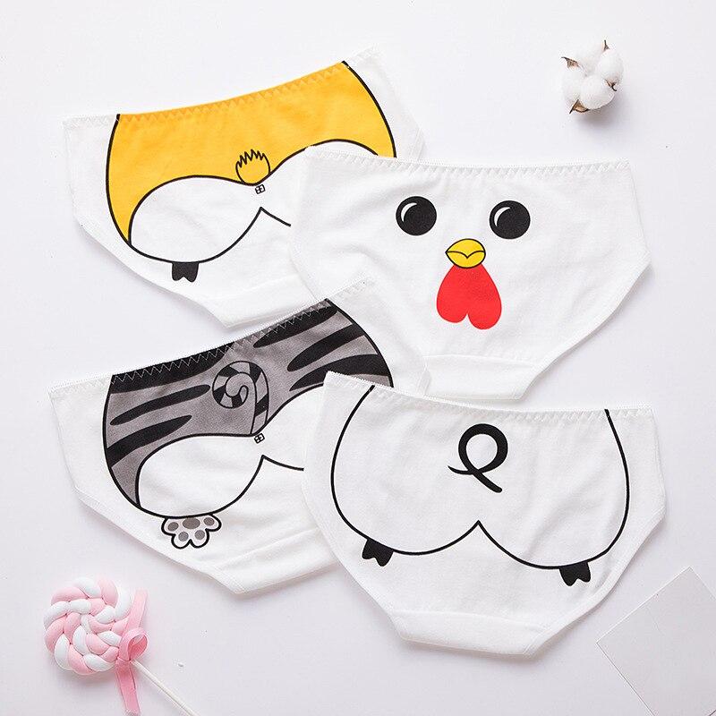 New Cute Cartoon Print Girl Briefs Women's Breathable Comfortable Underwear Women Animal Ass Print Panties Soft Sexy Lingerie