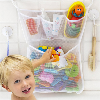Baby Shower Bath Toys White Baby Kids Toy Storage Mesh with Strong Suction Cups Toy Bag Net Bathroom Organizer kids baby bath tub toy tidy storage suction cup bag mesh bathroom organiser net