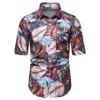 2019 New Arrivals Casual Print Brand Shirt Men Short Sleeve Button Tops Loose Fashion Men Beach Hawaiian Shirt S-2XL 2020 new men s plant hawaiian shirt lapel short sleeve button shirt fashion youth printed shirt loose casual s 3xl