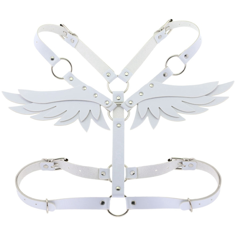 White Angel Wing Leather Body <font><b>Harness</b></font> <font><b>Cage</b></font> Bra <font><b>Sexy</b></font> Lingerie Fetish for <font><b>Women</b></font> <font><b>Punk</b></font> Gothic Bondage Crop Tops Cosplay Rave Wear image