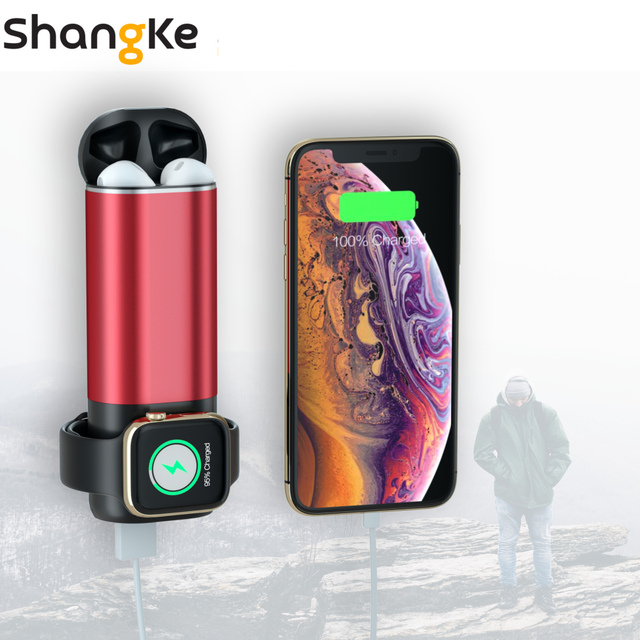3 In1 Wireless Charger Power Bank 5200mAh Portable Mobile Phone Charger  Power Bank for iPhone AirPods Apple Watch Series 4/3/2/