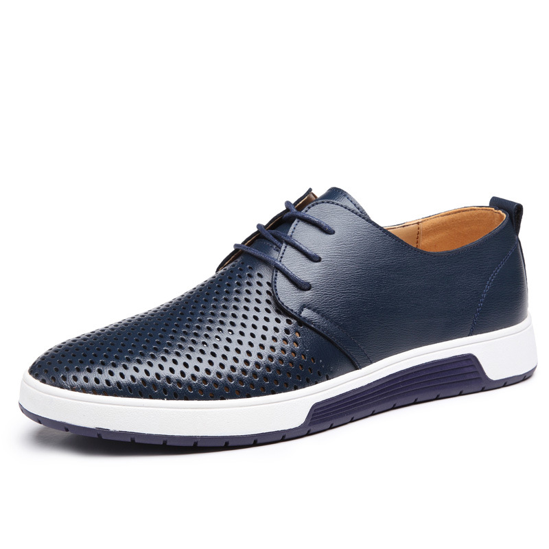 H49e32b6d7cb74c22a2cad9ef182f5258U New 2019 Men Casual Shoes Leather Summer Breathable Holes Luxurious Brand Flat Shoes for Men Drop Shipping