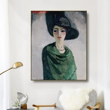 Canvas Art Oil Painting《Woman in black hat》Kees Van Dongen Poster Picture Wall Decor Modern Home Decoration For Living room