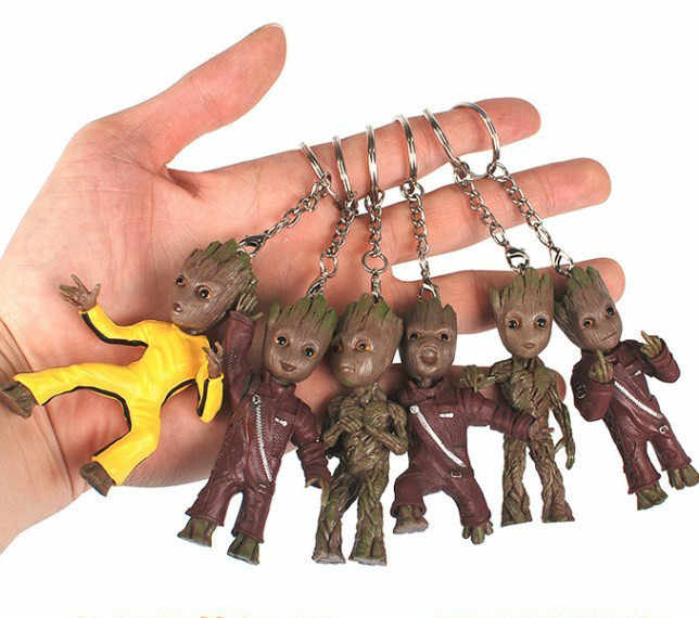 الطفل Groot عمل Grootted أرقام سلسلة مفاتيح لعبة المنزل زخرفة لطيف نموذج الكرتون شجرة رجل المفاتيح سيارة ديكور معلق كيرينغ